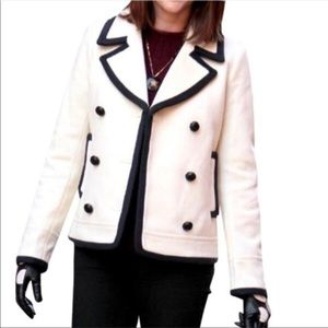 J. Crew White and Navy Pea Coat